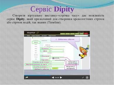 Сервіс Dipity Створити віртуальну виставку-«стрічка часу» дає можливість серв...