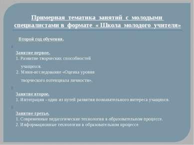 Примерная тематика занятий с молодыми специалистами в формате « Школа молодог...