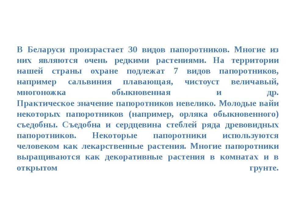 В Беларуси произрастает 30 видов папоротников. Многие из них являются очень р...