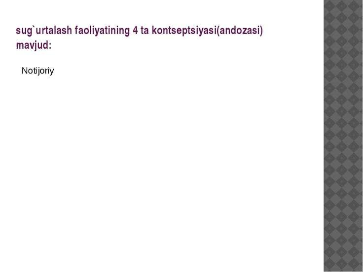 sug`urtalash faoliyatining 4 ta kontseptsiyasi(andozasi) mavjud: