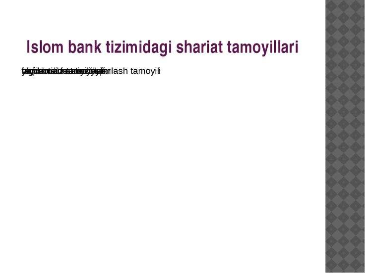 Islom bank tizimidagi shariat tamoyillari