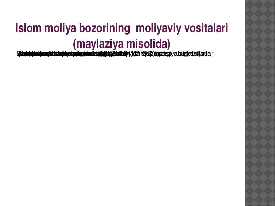 Islom moliya bozorining moliyaviy vositalari (maylaziya misolida)