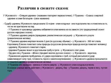 Различия в сюжете сказок У Жуковского - «Спящая царевна» (название повторяет ...