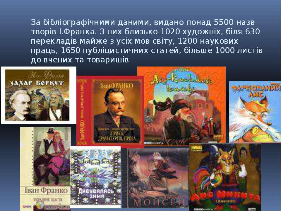 За бібліографічними даними, видано понад 5500 назв творів І.Франка. З них бли...