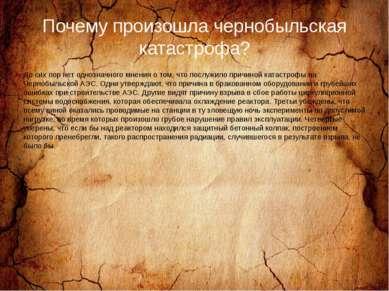 Почему произошла чернобыльская катастрофа? До сих пор нет однозначного мнения...