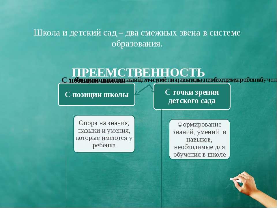 ПРЕЕМСТВЕННОСТЬ Школа и детский сад – два смежных звена в системе образования.
