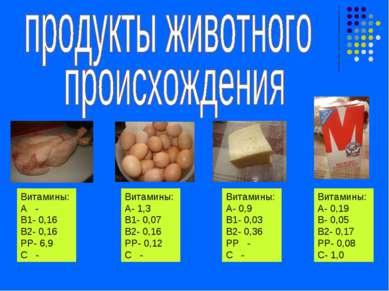 Витамины: А - В1- 0,16 В2- 0,16 РР- 6,9 С - Витамины: А- 1,3 В1- 0,07 В2- 0,1...