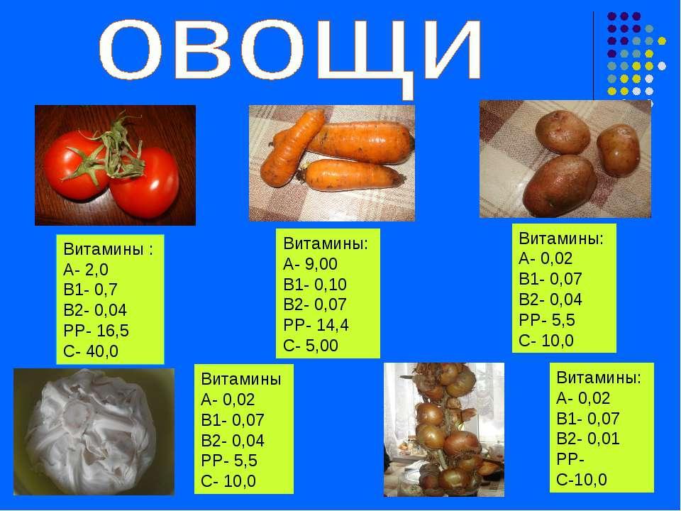 Витамины : А- 2,0 В1- 0,7 В2- 0,04 РР- 16,5 С- 40,0 Витамины: А- 9,00 В1- 0,1...