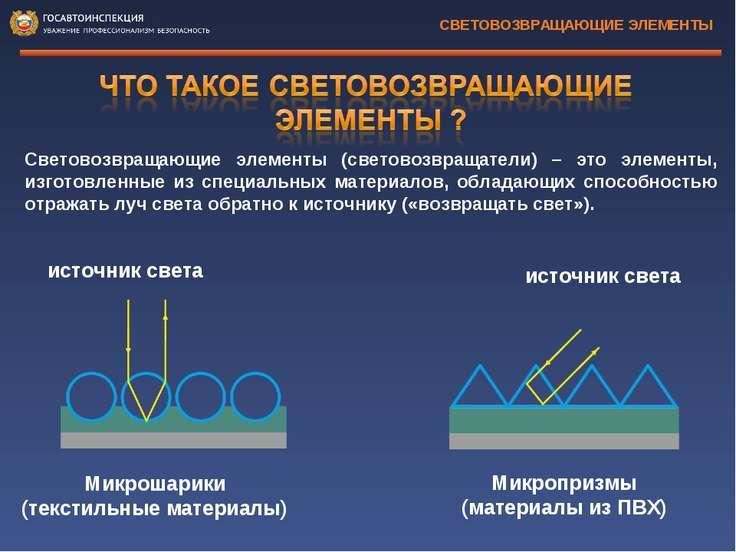 Световозвращающие элементы (световозвращатели) – это элементы, изготовленные ...