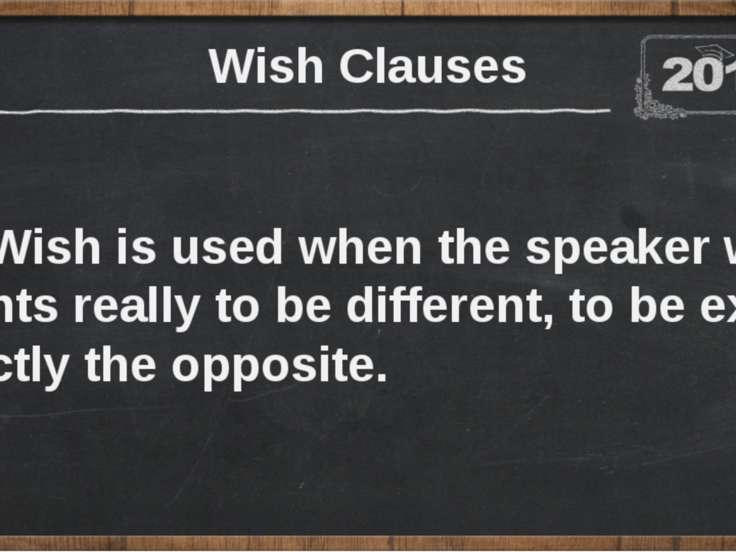 Wish is used when the speaker wants really to be different, to be exactly the...