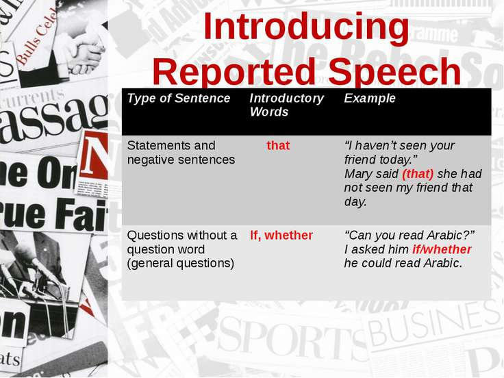 Introducing Reported Speech Type of Sentence Introductory Words Example State...