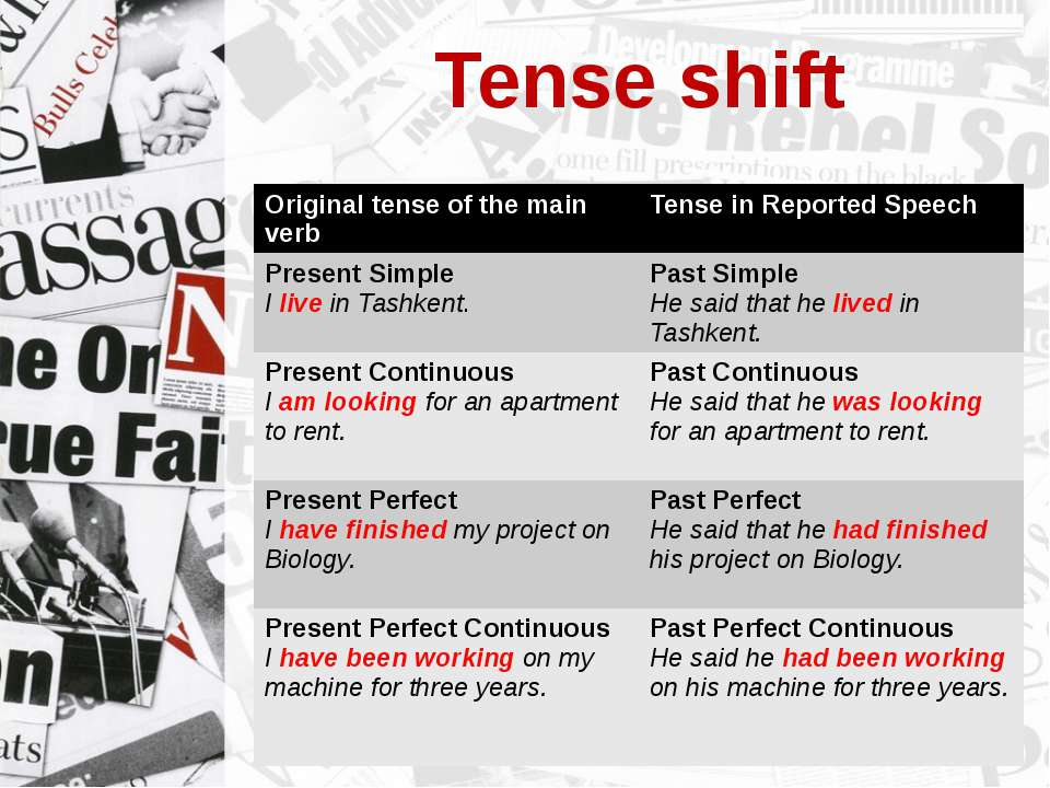 Tense shift Original tense of the main verb Tense in Reported Speech Present ...