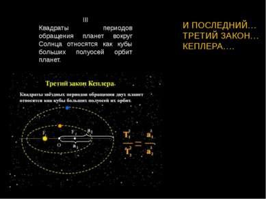 III Квадраты периодов обращения планет вокруг Солнца относятся как кубы больш...