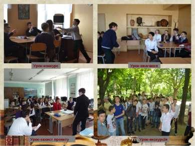 Урок-конкурс Урок-захист проекту Урок-змагання Урок-екскурсія