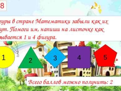 №8 Фигуры в стране Математики забыли как их зовут. Помоги им, напиши на листо...