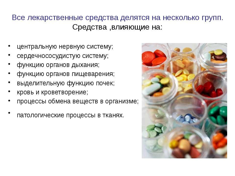 Все лекарственные средства делятся на несколько групп. Средства ,влияющие на:...