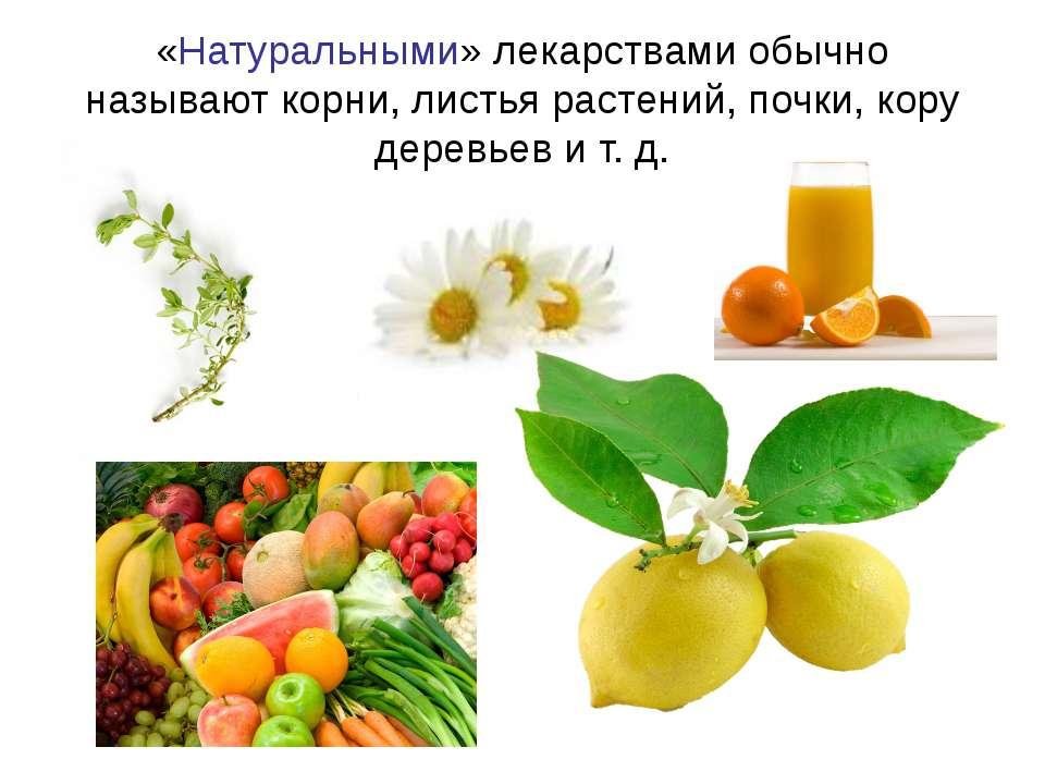 «Натуральными» лекарствами обычно называют корни, листья растений, почки, кор...