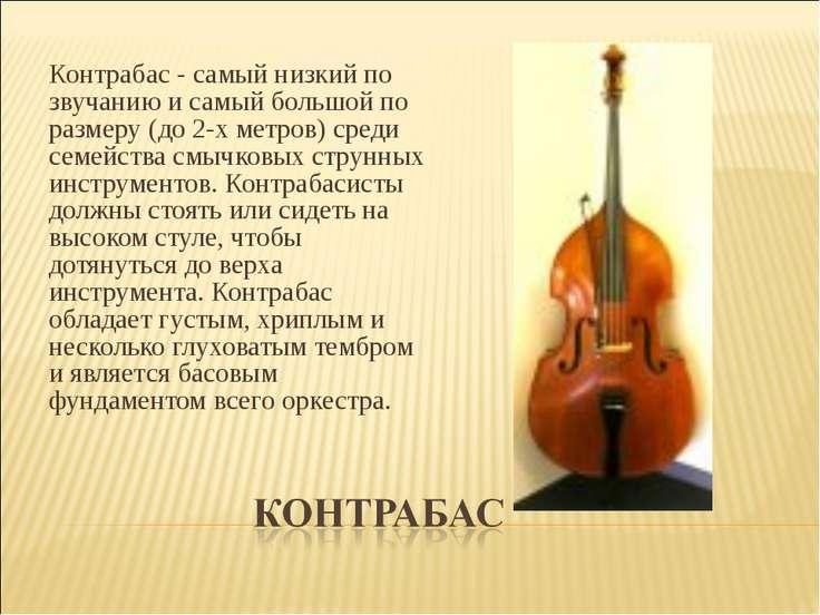 Контрабас - самый низкий по звучанию и самый большой по размеру (до 2-х метро...