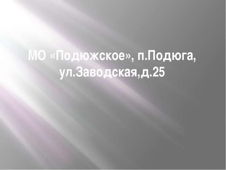 МО «Подюжское», п.Подюга, ул.Заводская,д.25