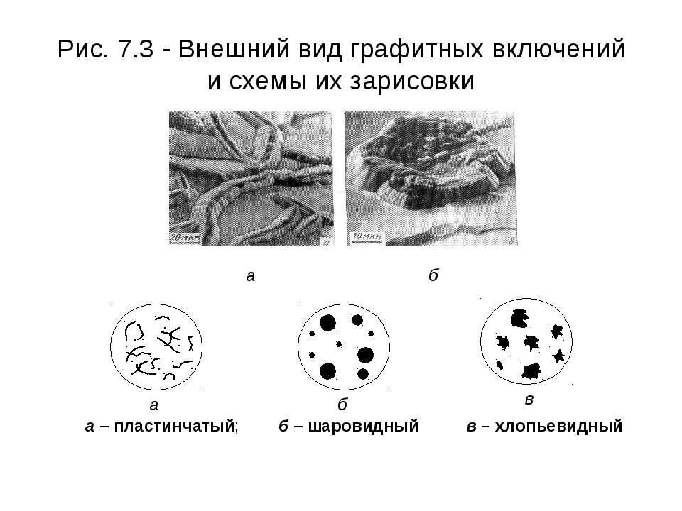 Рис. 7.3 - Внешний вид графитных включений и схемы их зарисовки а – пластинча...