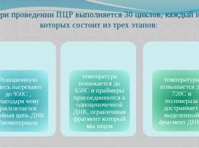 При проведении ПЦР выполняется 30 циклов, каждый из которых состоит из трех э...