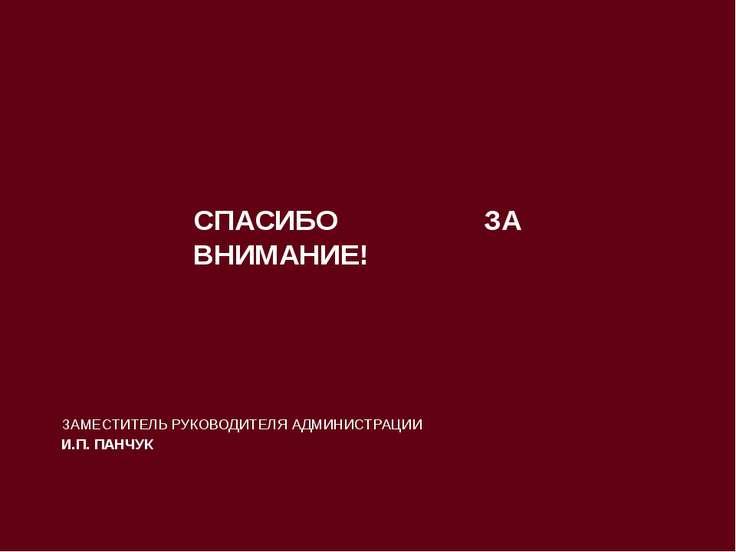 ЗАМЕСТИТЕЛЬ РУКОВОДИТЕЛЯ АДМИНИСТРАЦИИ И.П. ПАНЧУК СПАСИБО ЗА ВНИМАНИЕ!