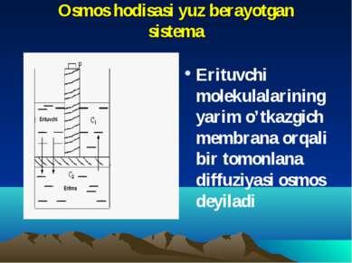 Osmos hodisasi yuz berayotgan sistema Erituvchi molekulalarining yarim o'tkaz...
