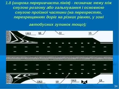 1.8 (широка переривчаста лінія) - позначає межу між смугою розгону або гальму...