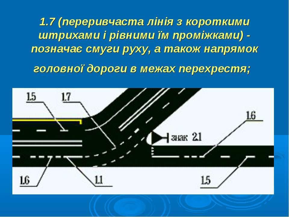 1.7 (переривчаста лінія з короткими штрихами і рівними їм проміжками) - позна...