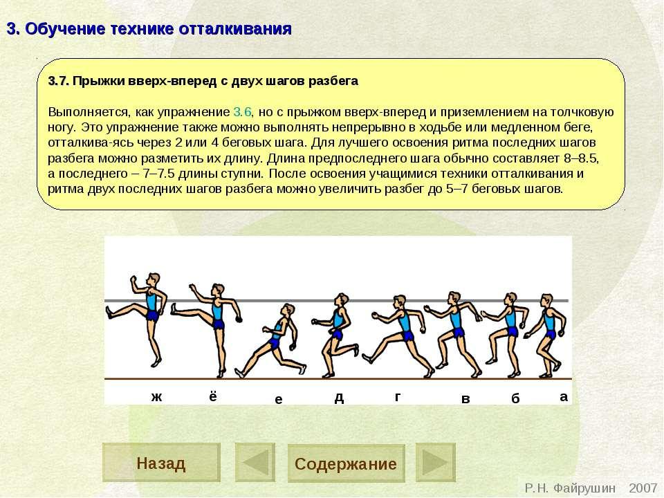 3. Обучение технике отталкивания 3.7. Прыжки вверх-вперед с двух шагов разбег...