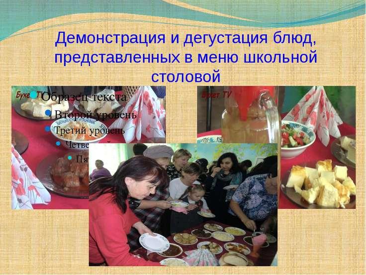 Демонстрация и дегустация блюд, представленных в меню школьной столовой