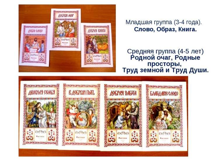 Младшая группа (3-4 года). Слово, Образ, Книга. Средняя группа (4-5 лет) Родн...
