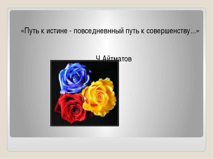 «Путь к истине - повседневнный путь к совершенству...» Ч.Айтматов