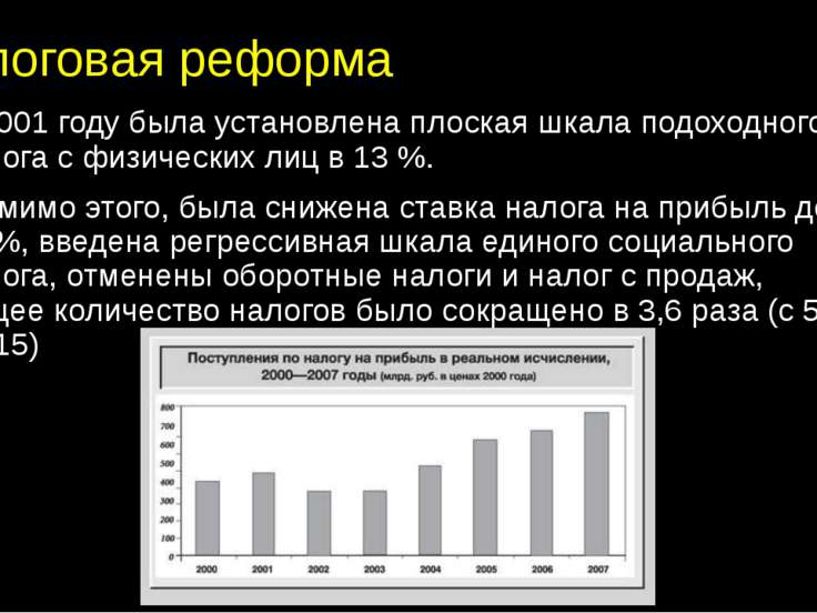Налоговая реформа В 2001 году была установлена плоская шкала подоходного нало...