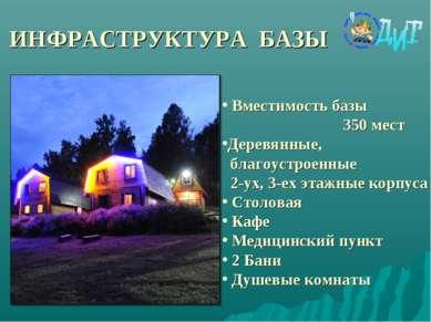 ИНФРАСТРУКТУРА БАЗЫ Вместимость базы 350 мест Деревянные, благоустроенные 2-у...