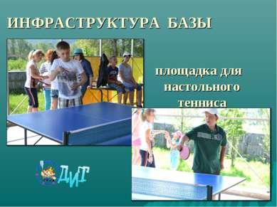 ИНФРАСТРУКТУРА БАЗЫ площадка для настольного тенниса