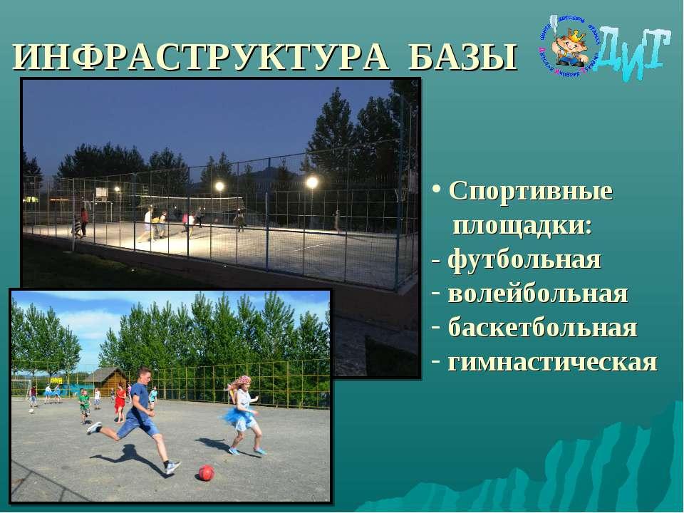 ИНФРАСТРУКТУРА БАЗЫ Спортивные площадки: - футбольная волейбольная баскетболь...