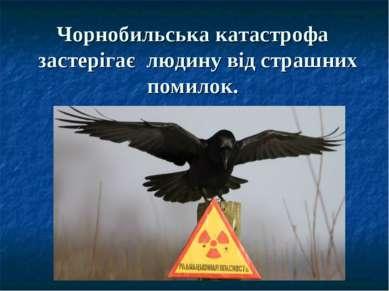Чорнобильська катастрофа застерігає людину від страшних помилок.