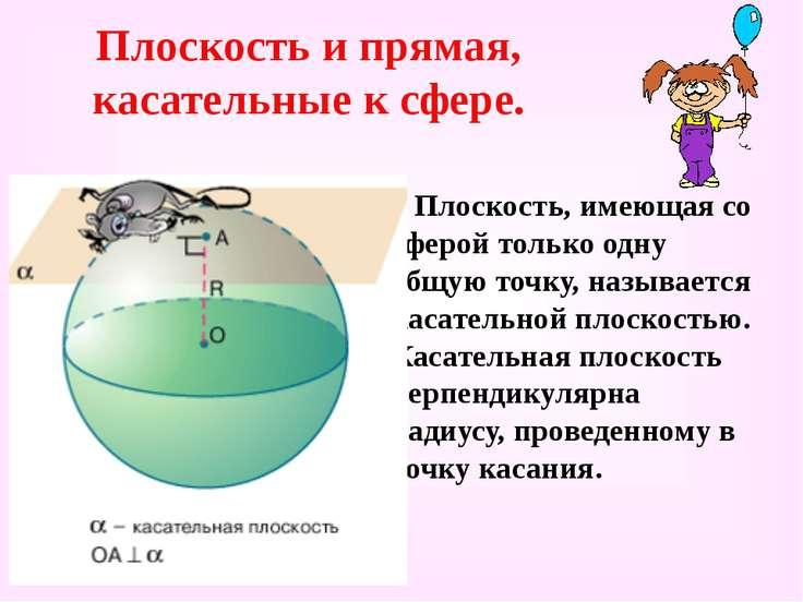 Плоскость и прямая, касательные к сфере. Плоскость, имеющая со сферой только ...