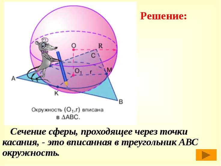 Сечение сферы, проходящее через точки касания, - это вписанная в треугольник ...