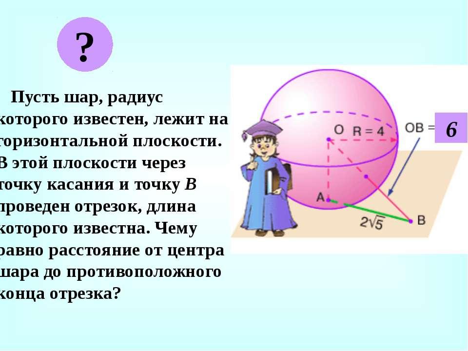 Пусть шар, радиус которого известен, лежит на горизонтальной плоскости. В это...
