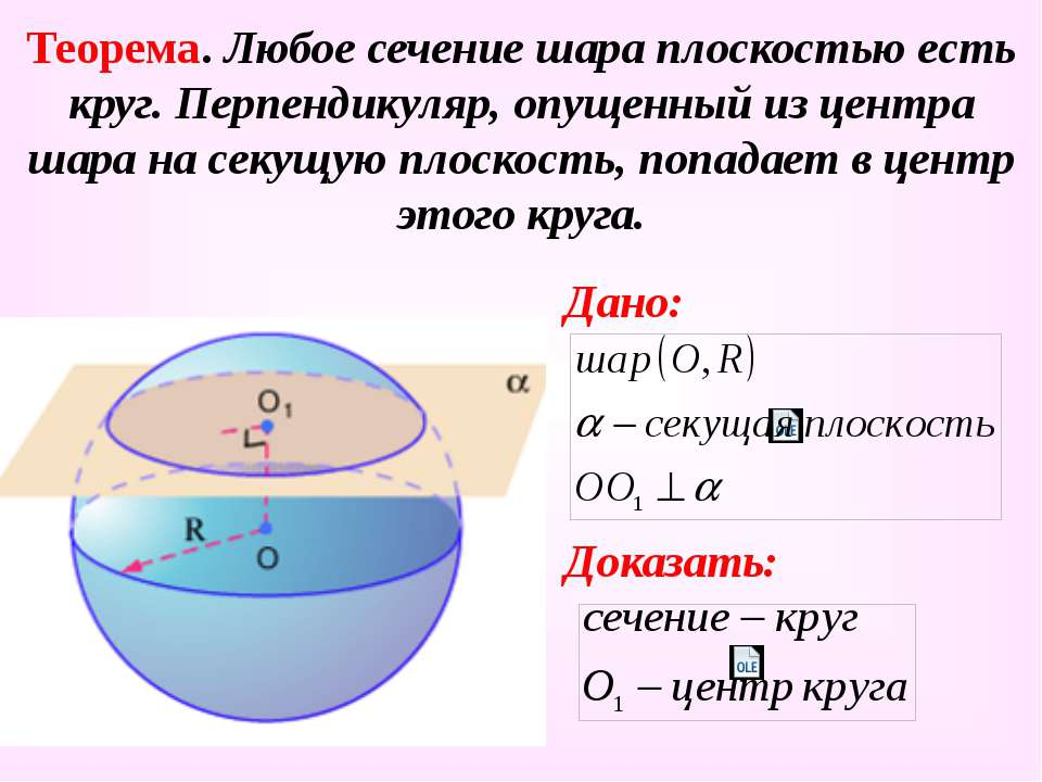 Теорема. Любое сечение шара плоскостью есть круг. Перпендикуляр, опущенный из...