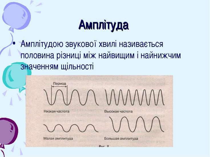 Амплітуда Амплітудою звукової хвилі називається половина різниці між найвищим...