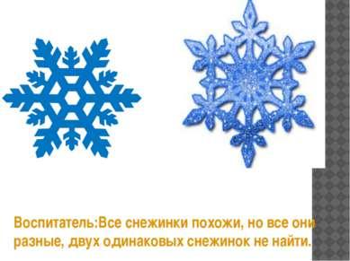 Воспитатель:Все снежинки похожи, но все они разные, двух одинаковых снежинок ...
