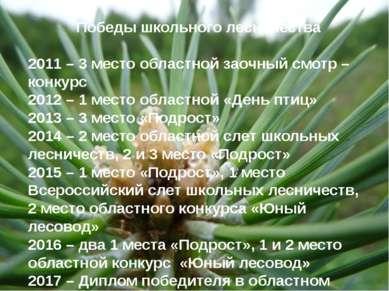 Победы школьного лесничества 2011 – 3 место областной заочный смотр –конкурс ...