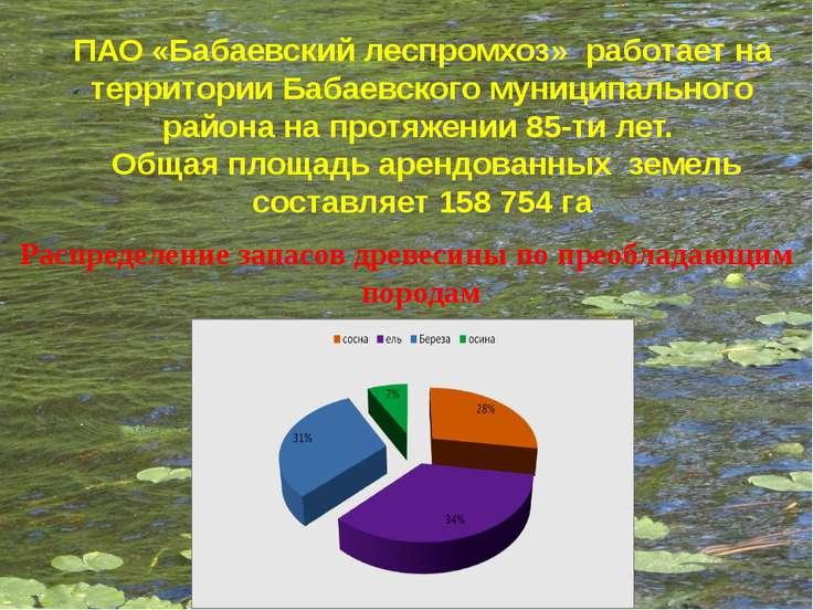 ПАО «Бабаевский леспромхоз» работает на территории Бабаевского муниципального...