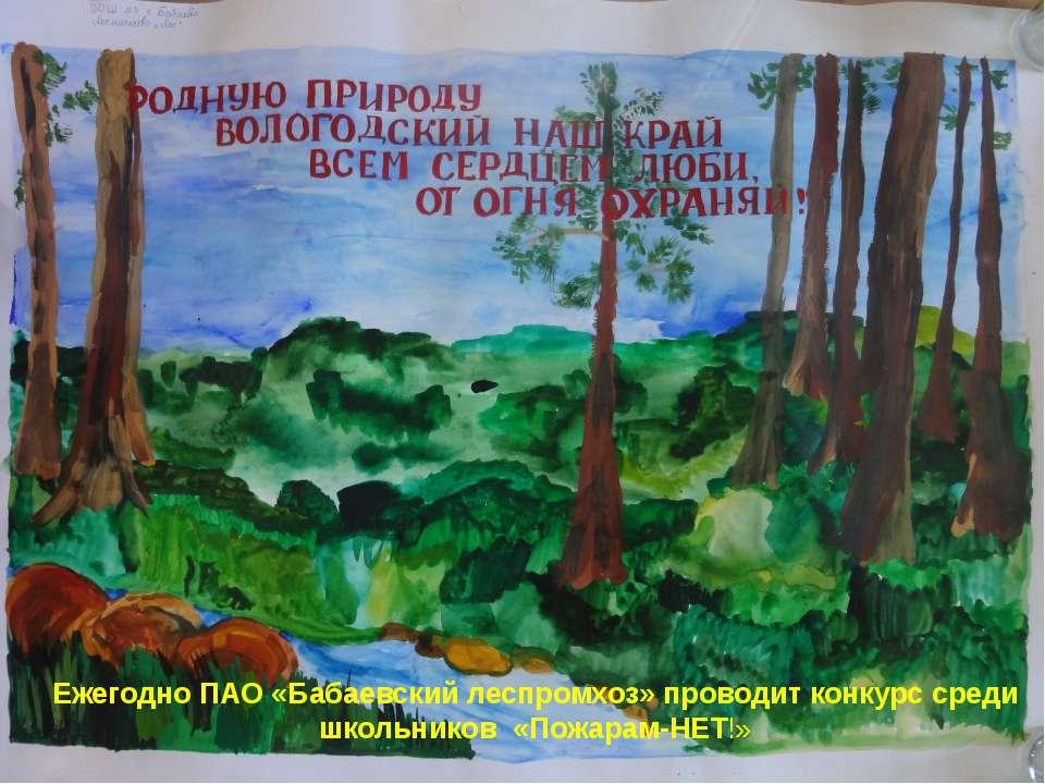 Ежегодно ПАО «Бабаевский леспромхоз» проводит конкурс среди школьников «Пожар...