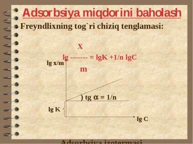 Adsorbsiya miqdorini baholash Freyndlixning tog`ri chiziq tenglamasi: X lg --...