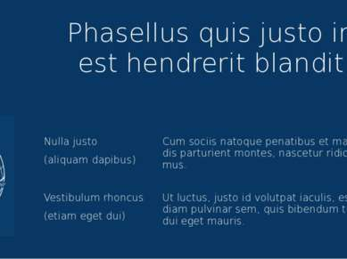 Phasellus quis justo in est hendrerit blandit Nulla justo (aliquam dapibus) C...