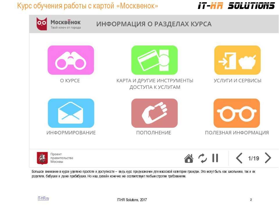 Курс обучения работы с картой «Москвенок» IT-HR.ru IT-HR Solutions, 2017 Боль...